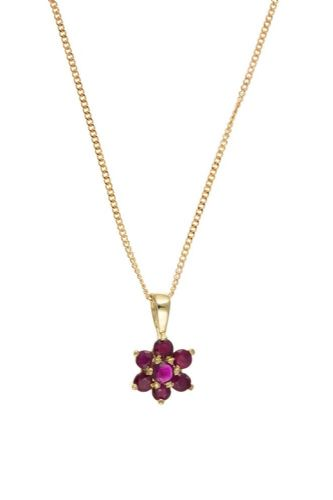 Cluster Ruby Yellow Gold Necklace